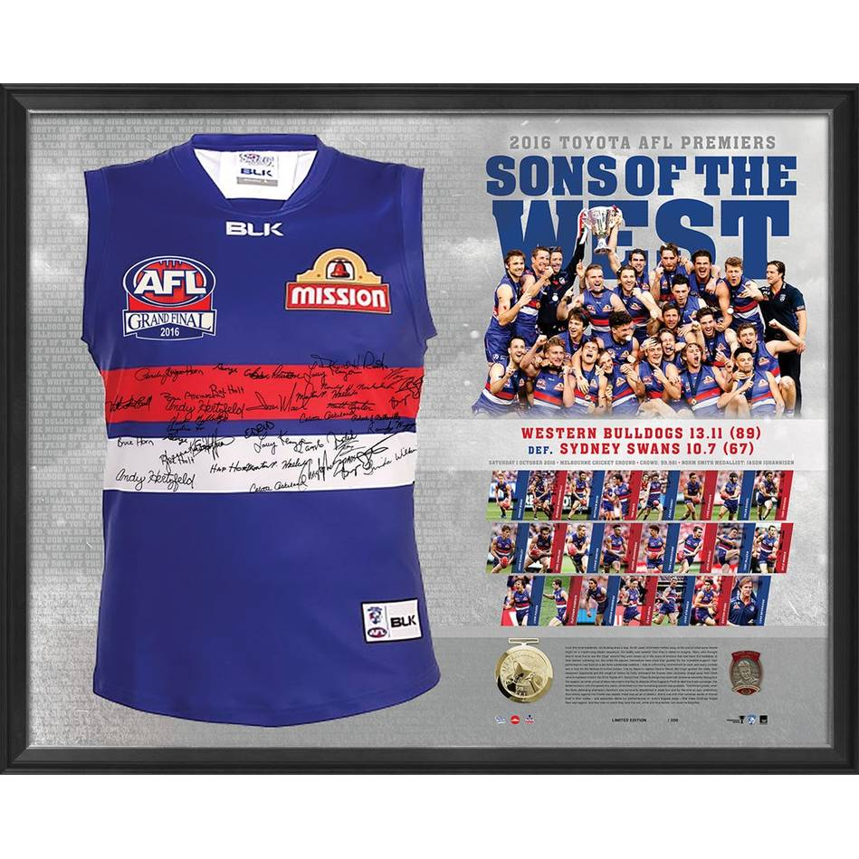 mainWESTERN BULLDOGS TEAM SIGNED PREMIERS GUERNSEY 'SONS OF THE WEST'0