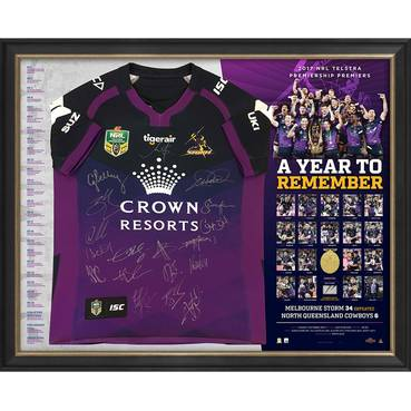 MELBOURNE STORM 2017 PREMIERS TEAM SIGNED JERSEY DELUXE EDITION