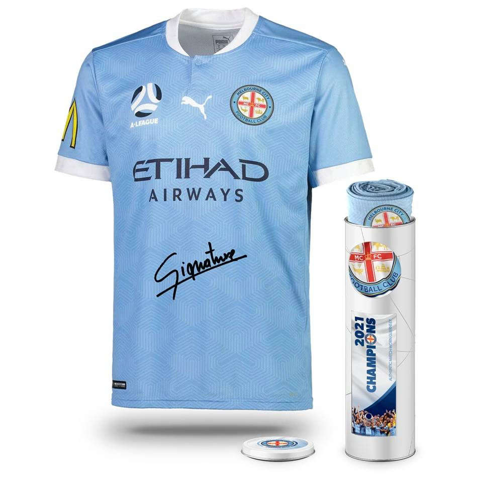 mainTom Glover Melbourne City FC A-League 2021 Champions Signed Match-Worn Jersey0