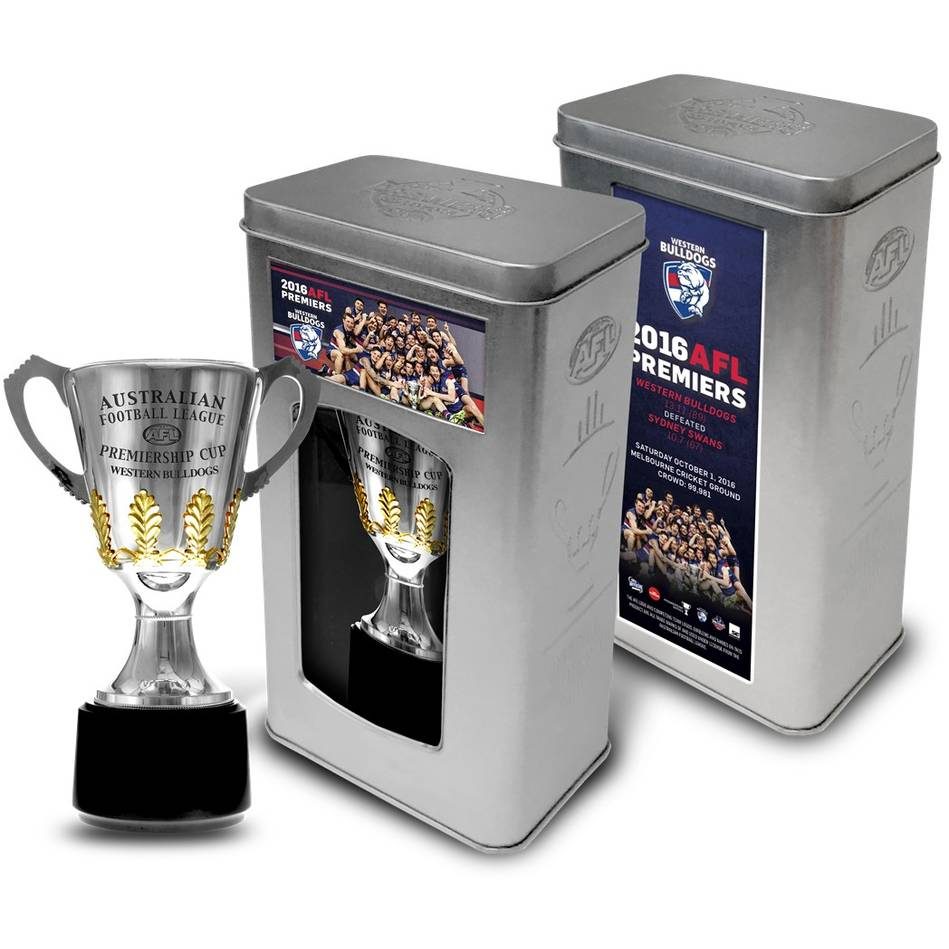 mainWESTERN BULLDOGS 2016 PREMIERSHIP TROPHY IN COLLECTOR'S TIN0