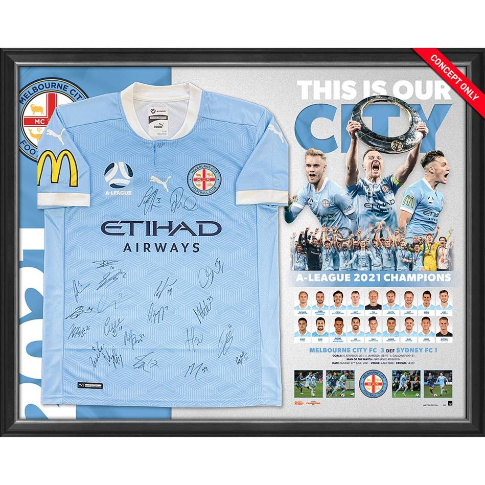 mainEDITION #1 - Melbourne City FC A-League 2021 Champions Team Signed Jersey0