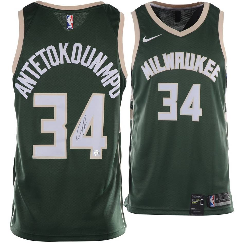Giannis Antetokounmpo Signed Milwaukee Bucks Jersey0