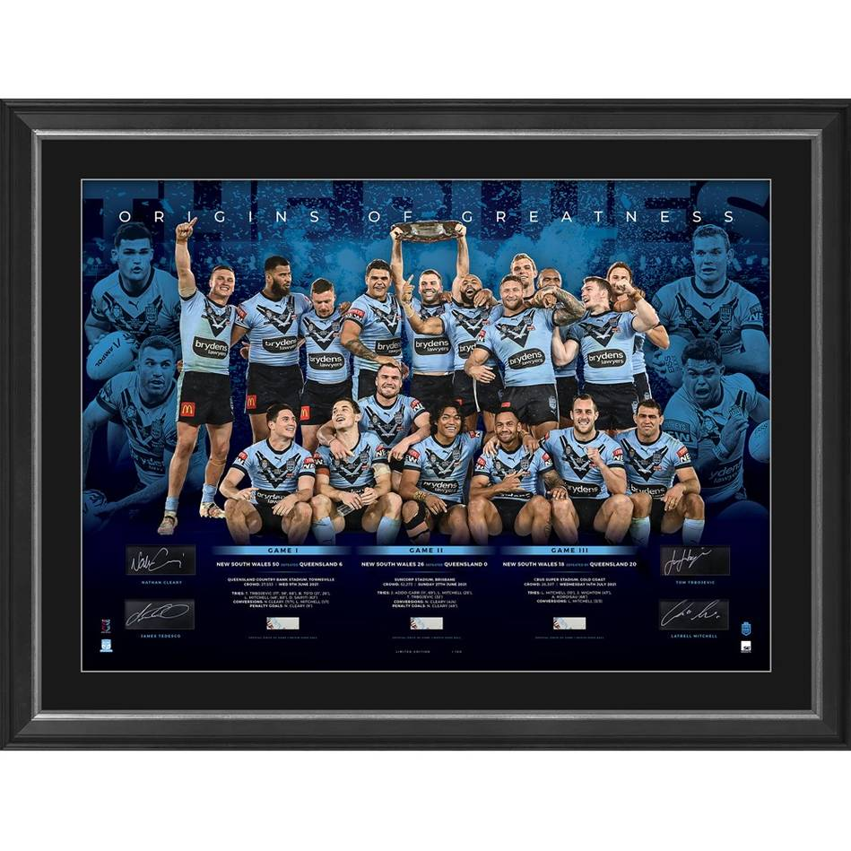 mainNSW Blues 2021 State of Origin Signed Champions Lithograph0