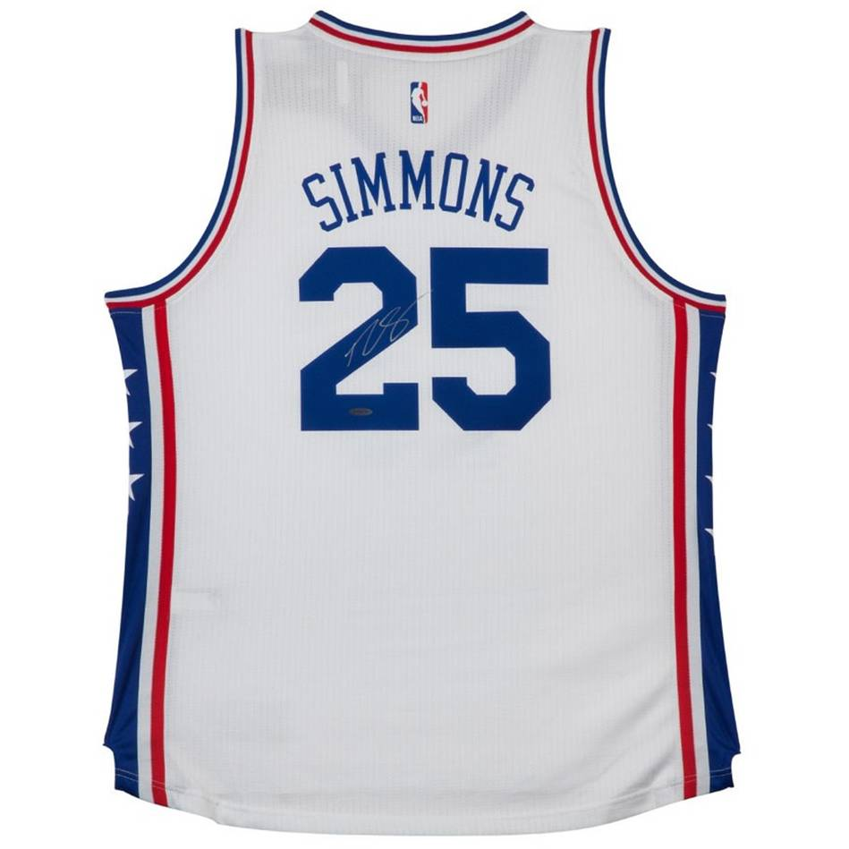 mainBEN SIMMONS SIGNED 76ERS HOME JERSEY0