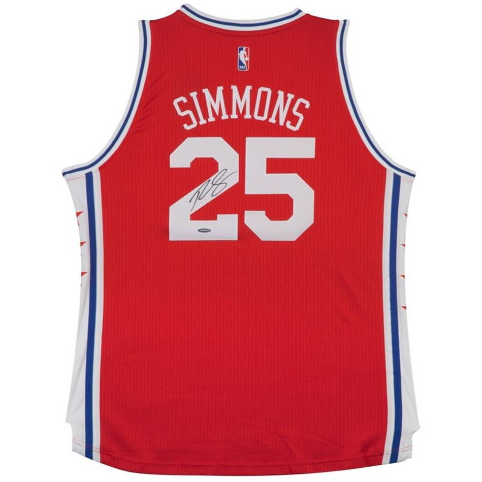 mainBEN SIMMONS SIGNED 76ERS ALTERNATE JERSEY0