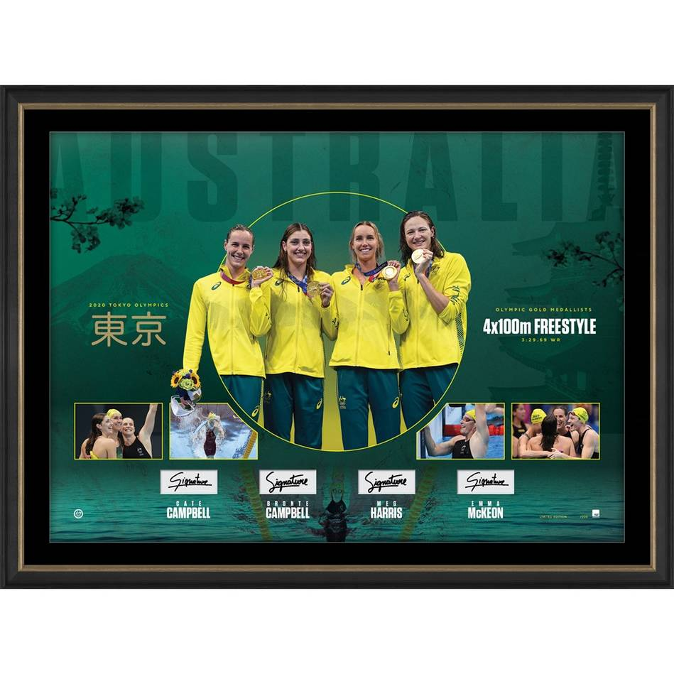 Womens 4x100m FS Signed Gold Medal Lithograph0