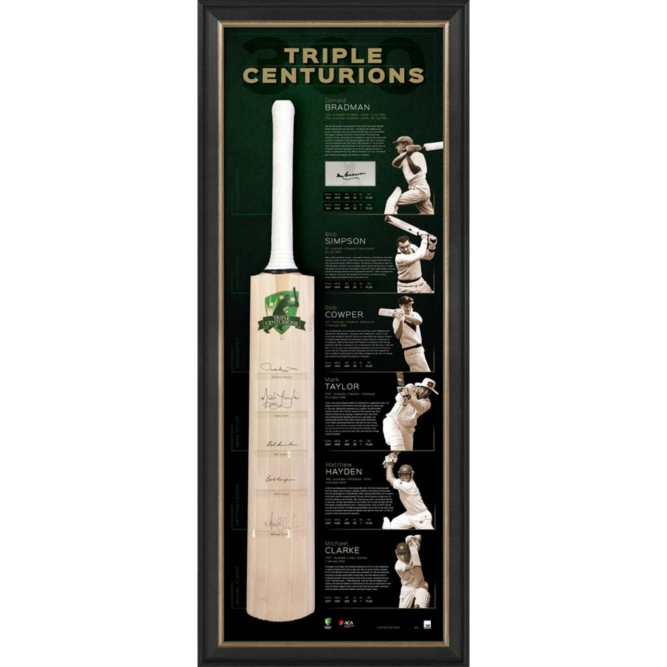 mainTRIPLE CENTURIONS SIGNED BAT DISPLAY0