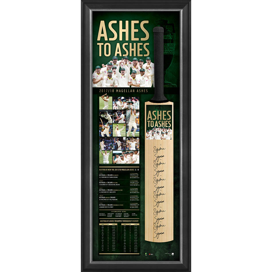 main'ASHES TO ASHES' SIGNED BAT DISPLAY0