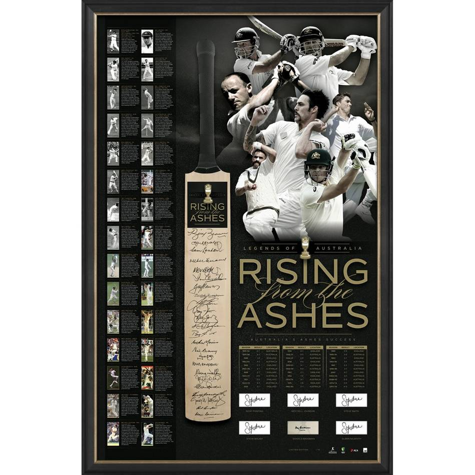 main'RISING FROM THE ASHES' SIGNED BAT DISPLAY0