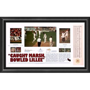 'CAUGHT MARSH, BOWLED LILLEE' DUAL SIGNED LITHOGRAPH