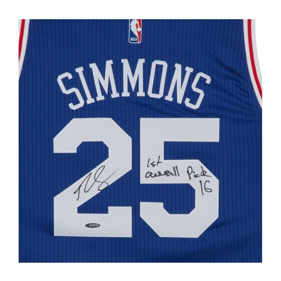 mainBEN SIMMONS SIGNED & INSCRIBED '1ST OVERALL PICK '16' 76ERS AWAY JERSEY1