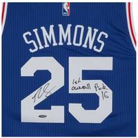 BEN SIMMONS SIGNED & INSCRIBED '1ST OVERALL PICK '16' 76ERS AWAY JERSEY1