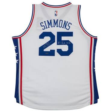BEN SIMMONS SIGNED & INSCRIBED '1ST OVERALL PICK '16' 76ERS HOME JERSEY