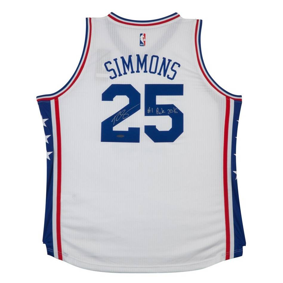 mainBEN SIMMONS SIGNED & INSCRIBED '1ST OVERALL PICK '16' 76ERS HOME JERSEY0