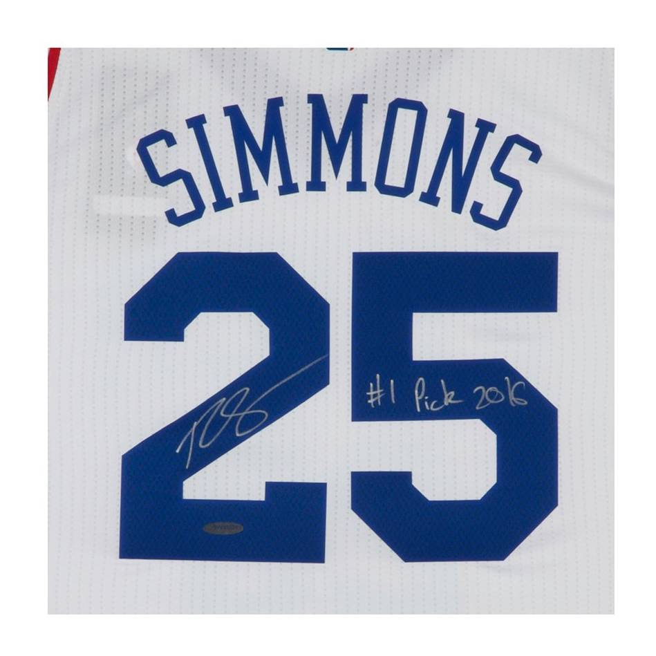 mainBEN SIMMONS SIGNED & INSCRIBED '1ST OVERALL PICK '16' 76ERS HOME JERSEY1
