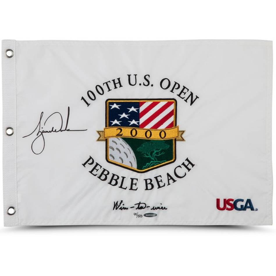mainTIGER WOODS SIGNED 2000 U.S. OPEN PIN FLAG0