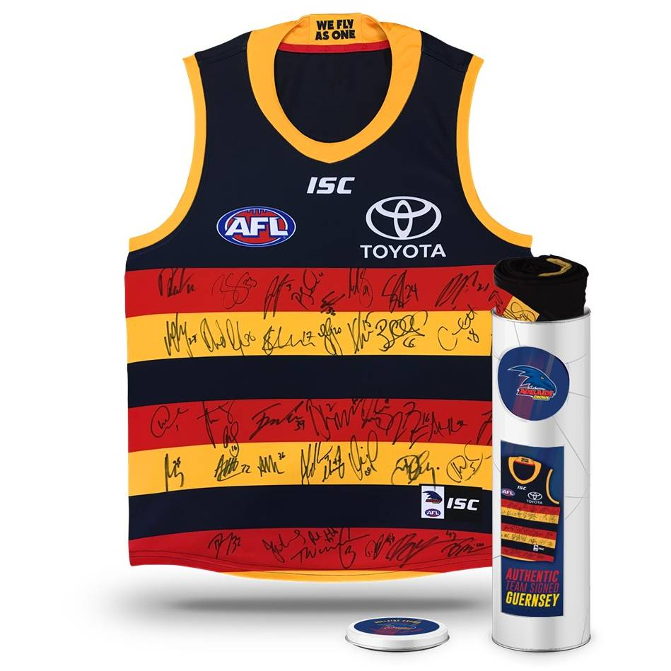 mainADELAIDE CROWS 2018 TEAM SIGNED GUERNSEY IN COLLECTORS TIN0