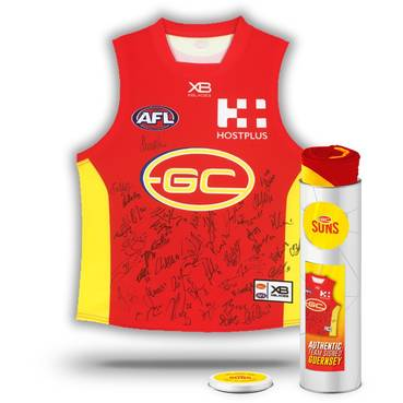 GOLD COAST SUNS 2018 TEAM SIGNED GUERNSEY IN COLLECTORS TIN