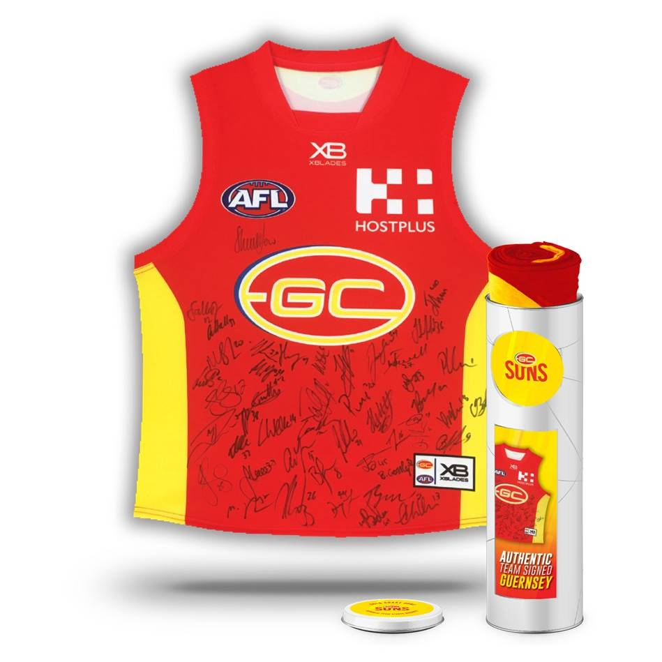 mainGOLD COAST SUNS 2018 TEAM SIGNED GUERNSEY IN COLLECTORS TIN0