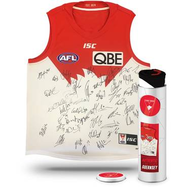SYDNEY SWANS 2018 TEAM SIGNED GUERNSEY IN COLLECTORS TIN