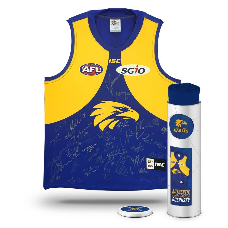 mainWEST COAST EAGLES 2018 TEAM SIGNED GUERNSEY IN COLLECTORS TIN0