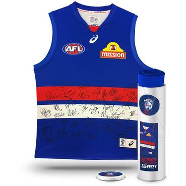 WESTERN BULLDOGS 2018 TEAM SIGNED GUERNSEY IN COLLECTORS TIN