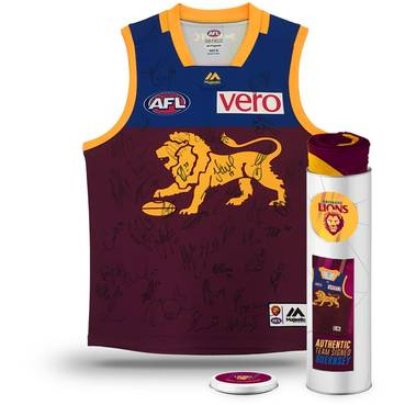 BRISBANE LIONS 2018 TEAM SIGNED GUERNSEY IN COLLECTORS TIN