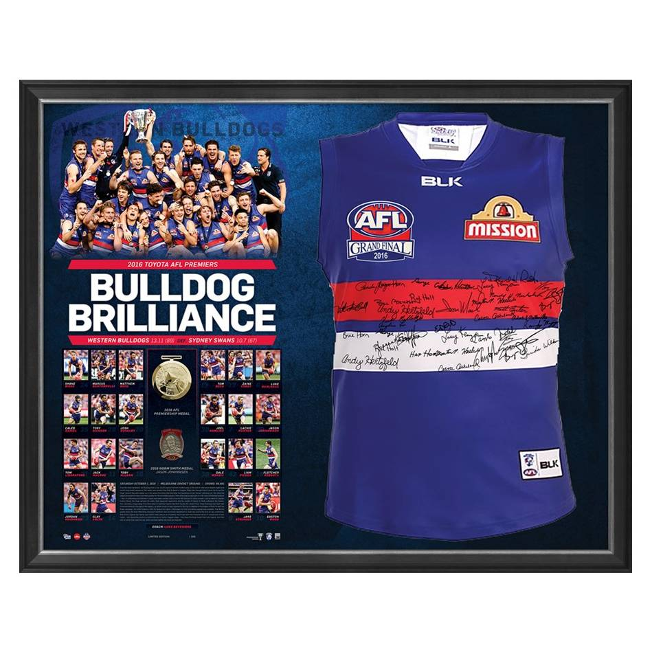 mainWESTERN BULLDOGS TEAM SIGNED PREMIERS GUERNSEY 'BULLDOG BRILLIANCE'0